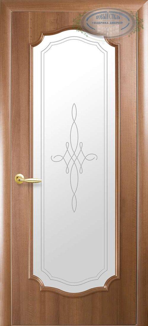 Межкомнатные двери Рока новый стиль под стекло с витражом