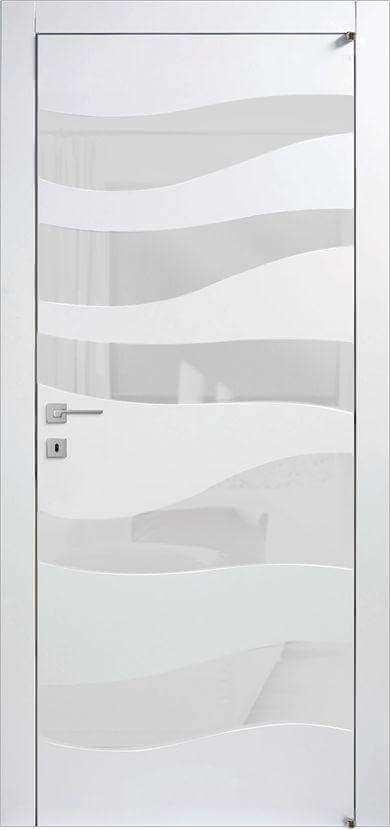 Щитовые крашенные двери со вставками стекла модель А8С