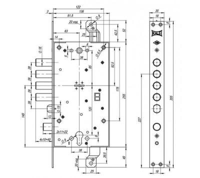 Схема замка Kale-456 аналог Мottura 54797