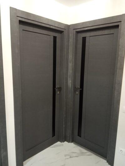 Двери -05-06 графит черное стекло